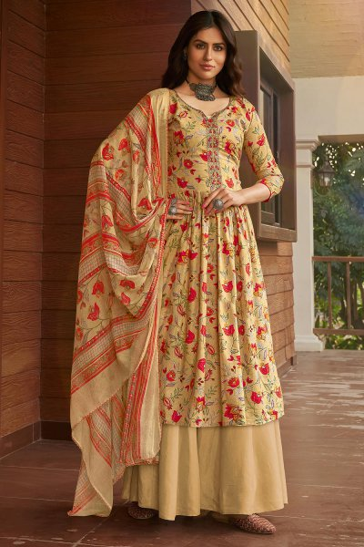 Ready to Wear Beige and Red Printed Cotton Anarkali Suit