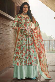 Light Bluish Green Printed Cotton Anarkali Suit