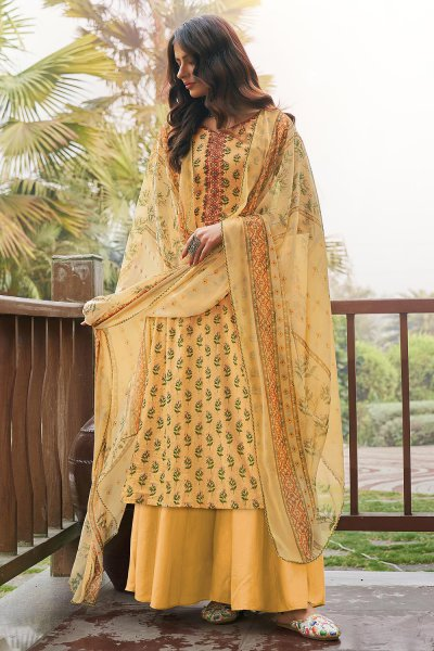 Pale Yellow Printed Cotton Anarkali Suit