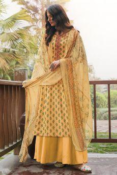 Pale Yellow Printed Cotton Anarkali Suit