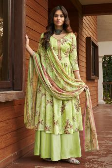 Ready To Wear Light Green Printed Cotton Anarkali Suit