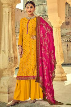 Mustard Indian Suit in Chinon with Beautiful Embroidery