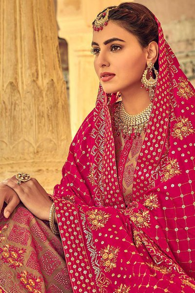 Brown Indian Suit in Chinon with Beautiful Embroidery