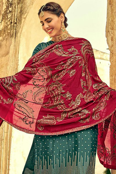 Teal Indian Suit in Chinon with Beautiful Embroidery