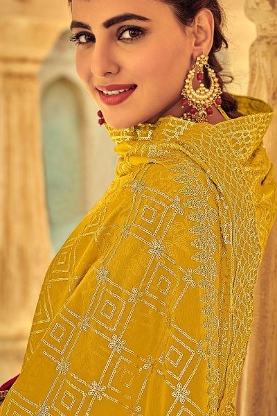 Pink Indian Suit in Chinon with Beautiful Embroidery