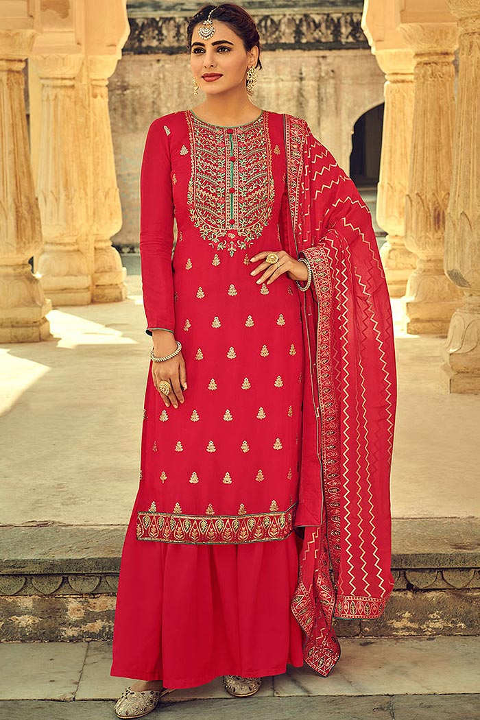 Red Indian Suit in Chinon with Beautiful Embroidery