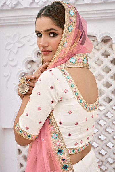 Beautiful White Silk Lehenga Choli with Mirror Embellishments