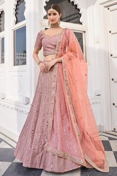 Dusky Pink Zari Embroidered Silk Lehenga with Mirror Detailing