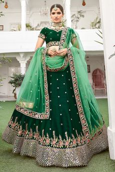 Stunning Silk Green Lehenga with Mirror Embellishments