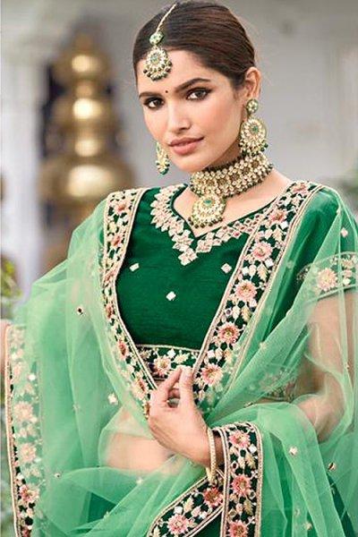 Stunning Silk Green Lehenga with Mirror Embellishments