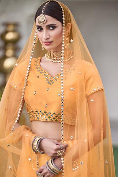 Designer Mustard Silk Lehenga with Mirror Detailing