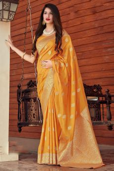 Mango Yellow Banarasi Silk Saree