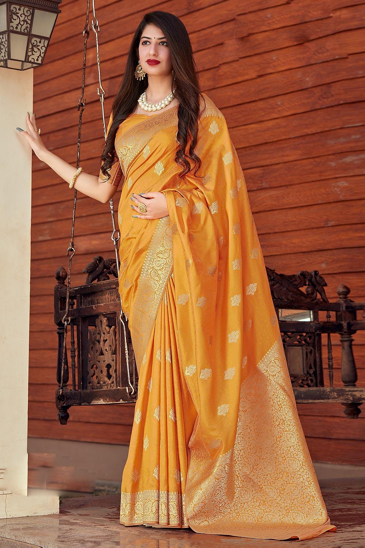 Mango Yellow Banarasi Silk Saree