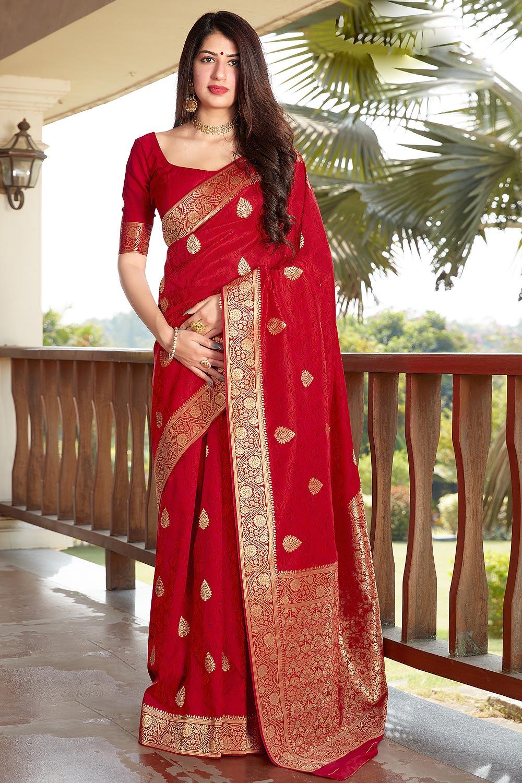 Stunning Red Banarasi Silk Saree