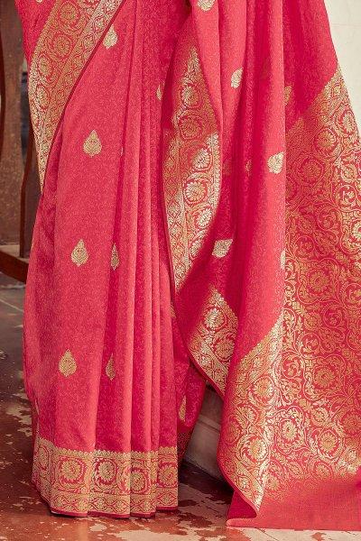 Reddish Orange Banarasi Silk Saree