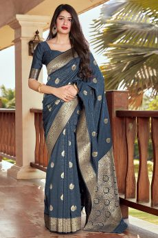 Charcoal Grey Banarasi Silk Saree