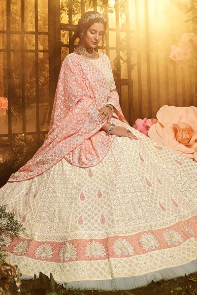 Pale Peach Georgette Embroidered Lehenga with Net Dupatta