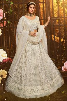 White Georgette Embroidered Lehenga Choli with Gota Patti Work