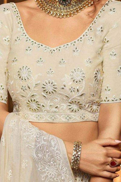 White Georgette Embroidered Lehenga Choli with Gota Patti Work
