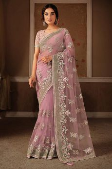 Dusky Pink Party Wear Net Saree
