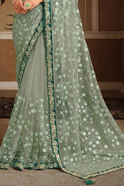 Sage Green Net Embroidered Saree with Silk Blouse