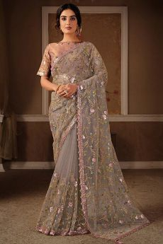 Taupe Sequin Embellished Net Saree