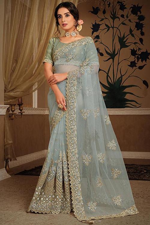 Bluish Grey Party Wear Saree in Net