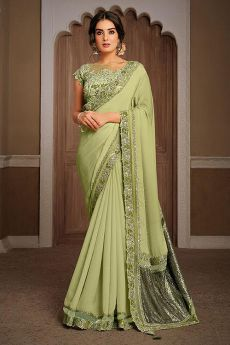 Light Kiwi Green Silk Georgette Party Wear Saree