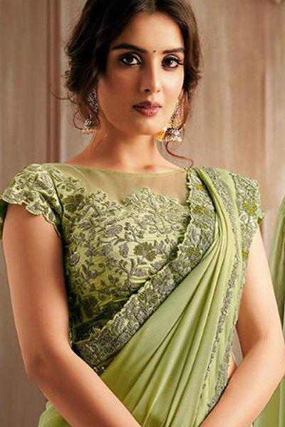 Light Kiwi Green Silk Georgette Party Wear Saree