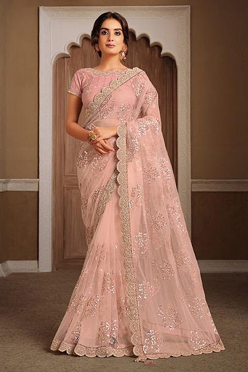 Blush Pink Party Wear Saree in Net