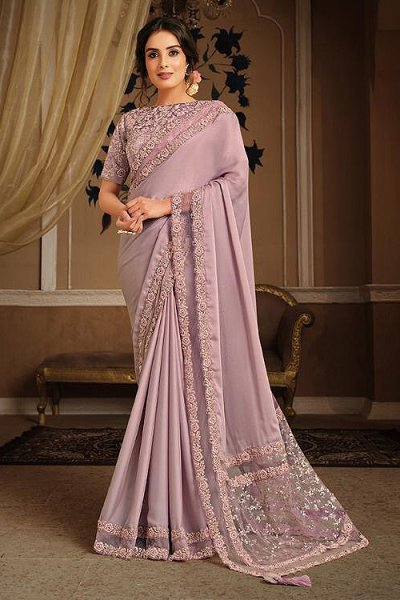 Lilac Party Wear Saree in Silk Georgette