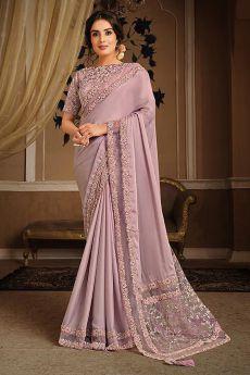 Lilac Party Wear Saree in Silk Georgette
