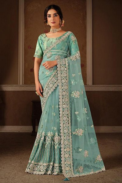 Powder Blue Party Wear Saree in Net