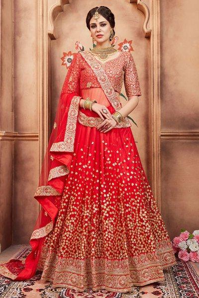 Beautiful Red Sequin Embellished Lehenga in Net