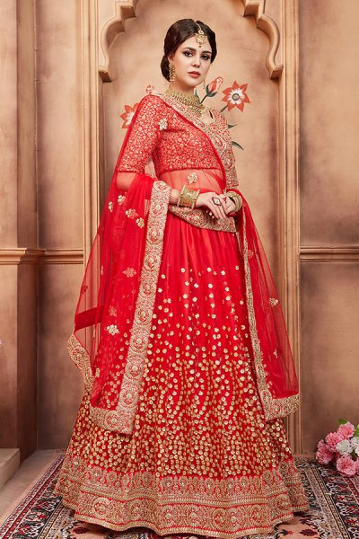 Beautiful Red Sequin Embellished Lehenga in Net