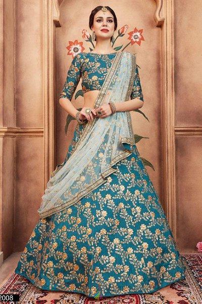 Beautiful Silk Zari Embroidered Lehenga in Silk