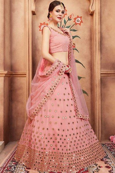 Beautiful Peach Mirror Embellished Lehenga Choli in Georgette