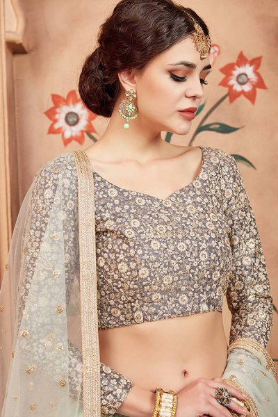 Pale Blue Sequin Embellished Lehenga in Net