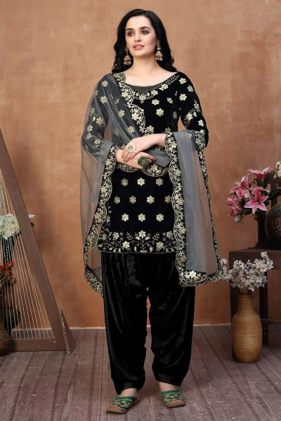 Black Zari Embroidered Salwar Kameez with Net Dupatta