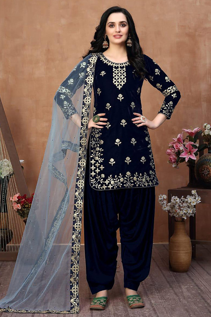 Navy Blue Zari Embroidered Salwar Kameez with Net Dupatta