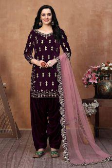 Purple Zari Embroidered Salwar Kameez with Net Dupatta