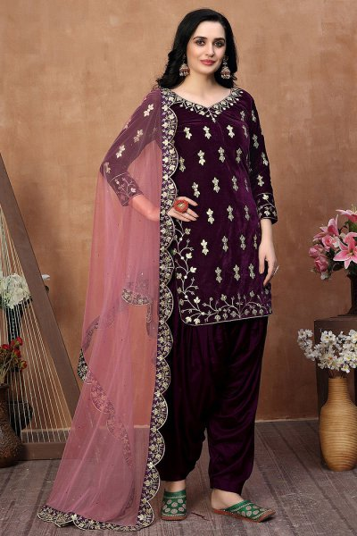 Purple Zari Embroidered Salwar Kameez with Net Dupatta