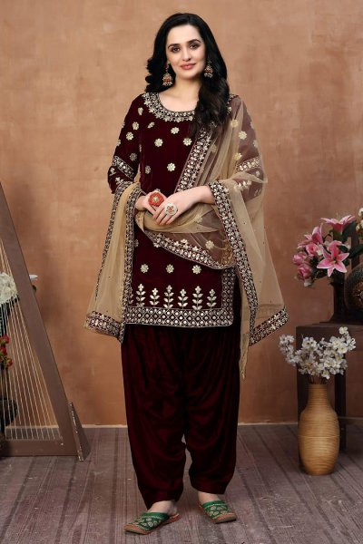Maroon Zari Embroidered Salwar Kameez with Net Dupatta