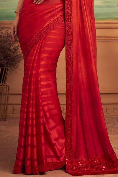 Red Designer Silk Saree