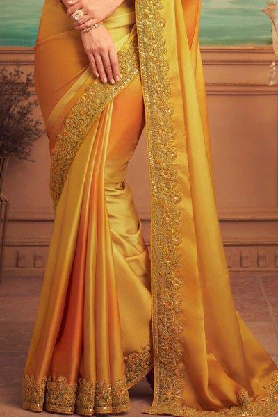 Mustard Silk Party Wear Saree