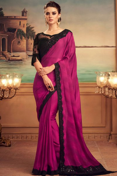 Magenta and Black Party Wear Saree