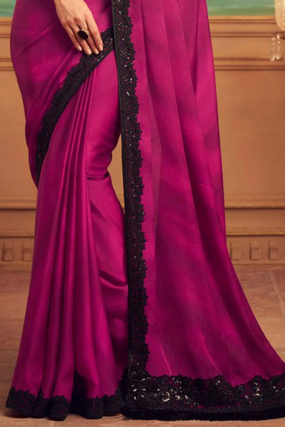 Magenta and Black Party Wear Saree