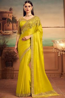 Lemon Yellow Designer Silk Saree