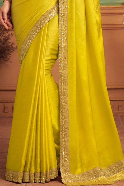 Lemon Yellow Designer Silk Saree