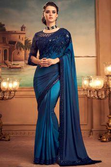 Blue Designer Silk Saree